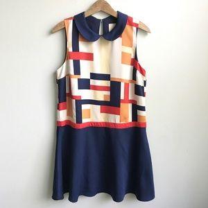 ModCloth Peter Pan Collar Dress Mod 60s Sleeveless